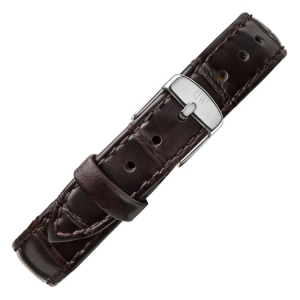 Daniel Wellington 14mm Petite York Donkerbruin Leer Horlogebandje RVS Gesp