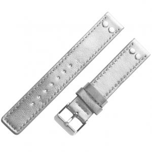 OOZOO Horlogebandje Zilver Leer met Studs