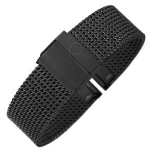 bandOh Mesh Milanaise Horlogebandje Fijn Geweven Zwart Staal