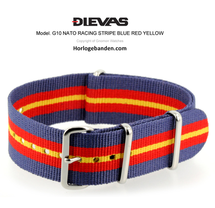 Racing Stripes Blue Red Yellow NATO G10 Military Nylon Strap- SS