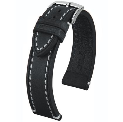 Hirsch Liberty Artisan Horlogebandje Zadelleer Zwart