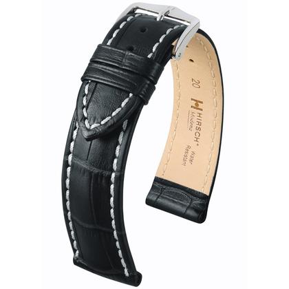 Hirsch Modena Horlogebandje Alligatorgrain Zwart