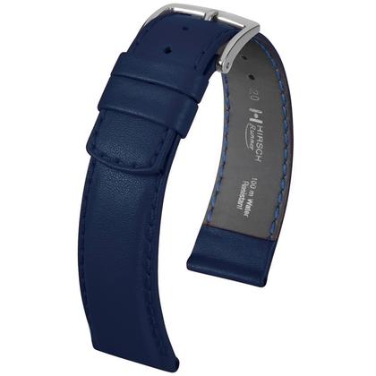 Hirsch Runner Horlogebandje Waterproof Kalfsleer Donkerblauw