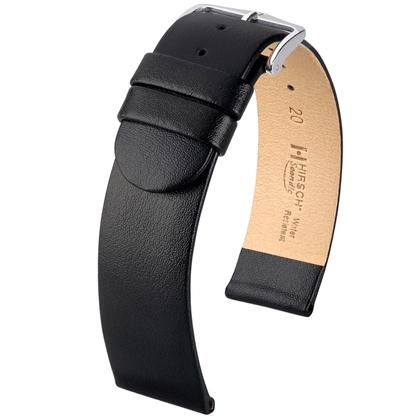 Hirsch Scandic Horlogebandje Zwart Kalfsleer