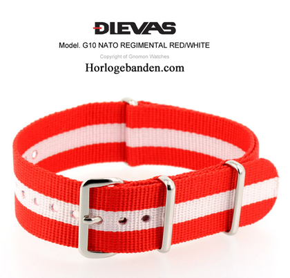 Red White NATO G10 Military Nylon Strap - SS