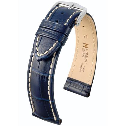 Hirsch Modena Horlogebandje Alligatorgrain Donkerblauw