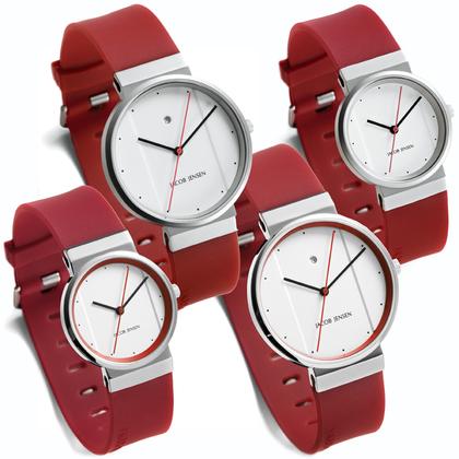 Jacob Jensen horlogeband 751, 756, 761, 766 rood rubber 17mm