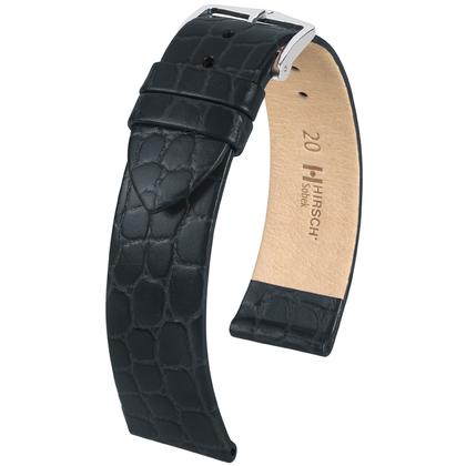 Hirsch Sobek Horlogebandje Krokostructuur Zwart