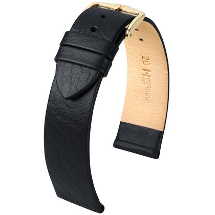 Hirsch Calf Horlogebandje Kalfsleer Zwart