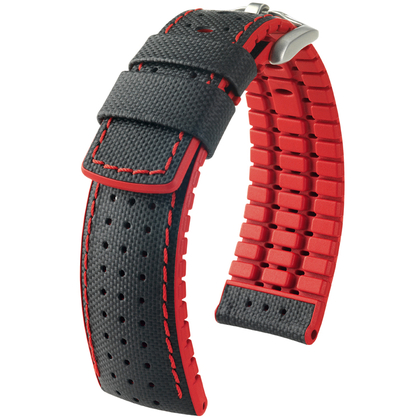 Hirsch Robby Performance Horlogeband Zwart Leer / Rood Rubber