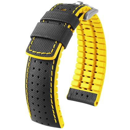 Hirsch Robby Performance Horlogeband Zwart Leer / Geel Rubber
