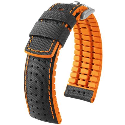 Hirsch Robby Performance Horlogeband Zwart Leer / Oranje Rubber