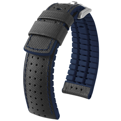 Hirsch Robby Performance Horlogeband Zwart Leer / Blauw Rubber