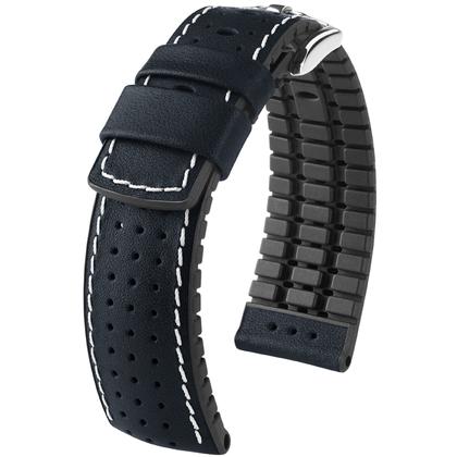 Hirsch Tiger Performance Horlogeband Zwart Leer / Zwart Rubber