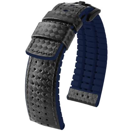 Hirsch Ayrton Performance Horlogeband Zwart Leer / Blauw Rubber
