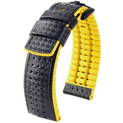 Hirsch Ayrton Performance Horlogeband Zwart Leer / Geel Rubber