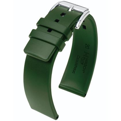 Hirsch Pure Horlogebandje Caoutchouc Natuur Rubber Groen