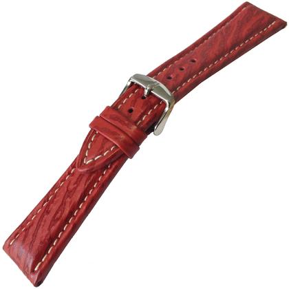 Hirsch Chrono Shark Echt Haaienleer Horlogebandje Rood