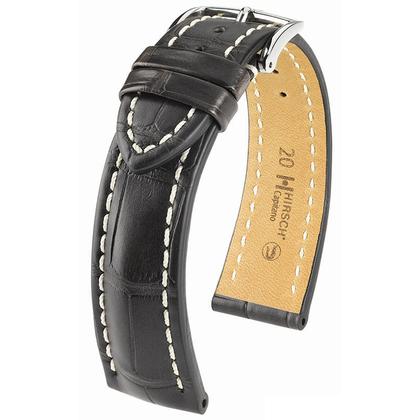 Hirsch Capitano II Louisiana Alligator Horlogebandje Semi-Mat Zwart