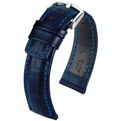 Hirsch Grand Duke Horlogebandje Alligatorgrain 100m WR Blauw