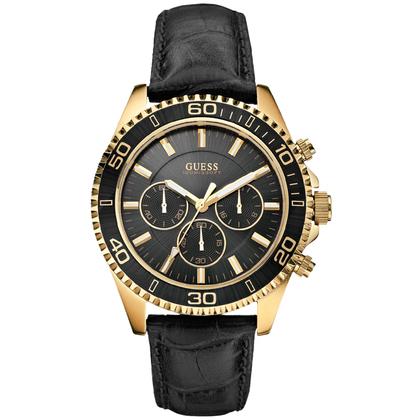 Guess Horlogebandje W0171G3 Zwart Leer Krokostructuur