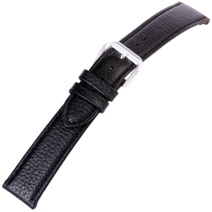 Zwart Horlogebandje Kalfsleer Buffelgrain