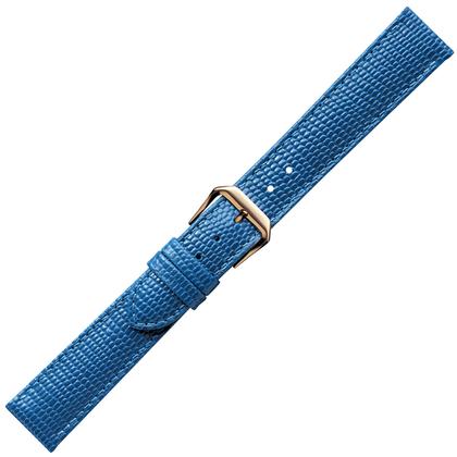 Lichtblauw Horlogebandje Hagedis-Kalfsleer