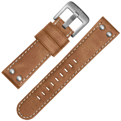 TW Steel Horlogebandje CS11, CS13 - TWS11 Lichtbruin, Wit Stiksel 22mm