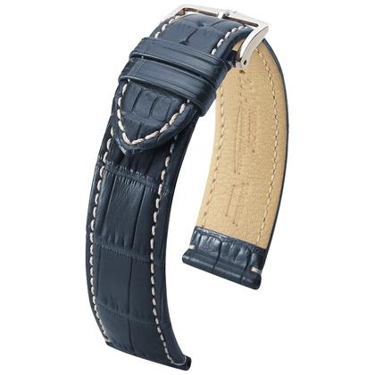 Hirsch Viscount II Alligator Horlogebandje WR Semi-Mat Blauw