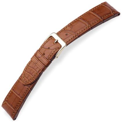 Hirsch Avance I Echt Alligator Leer Horlogebandje Semi-Mat Goudbruin