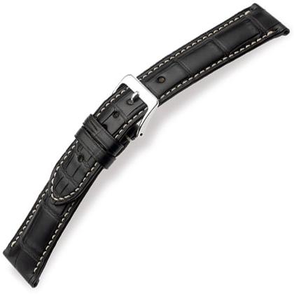 Hirsch Connoisseur II Alligator Horlogebandje Semi-Mat Zwart