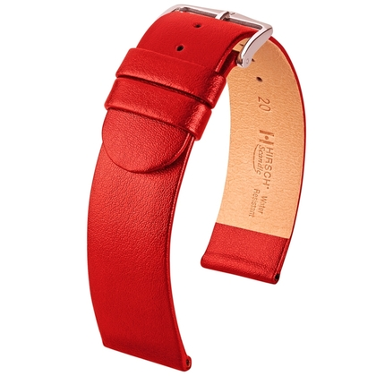 Hirsch Scandic Horlogebandje Rood Kalfsleer
