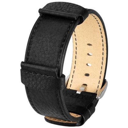 Hirsch Rebel Artisan Horlogeband Zadelleer NATO Stijl Zwart
