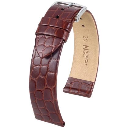 Hirsch Sobek Horlogebandje Krokostructuur Bruin