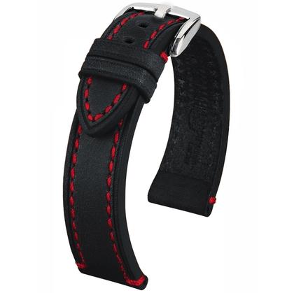 Hirsch Liberty Special Horlogebandje Zadelleer Zwart Rood Stiksel