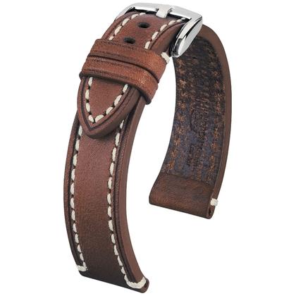 Hirsch Liberty Special Horlogebandje Zadelleer Bruin Beige Stiksel