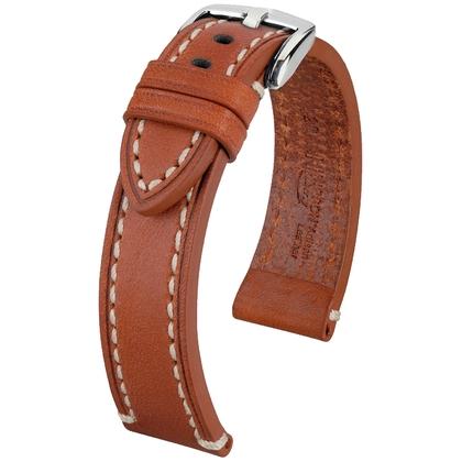 Hirsch Liberty Special Horlogebandje Zadelleer Cognac Beige Stiksel