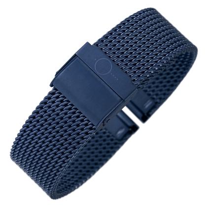 bandOh Mesh Milanaise Horlogebandje Fijn Geweven Blauw Staal