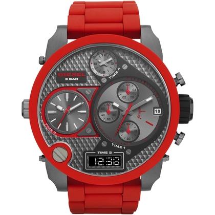 Diesel DZ7279 Horlogeband Roestvrij Staal Rood Rubber