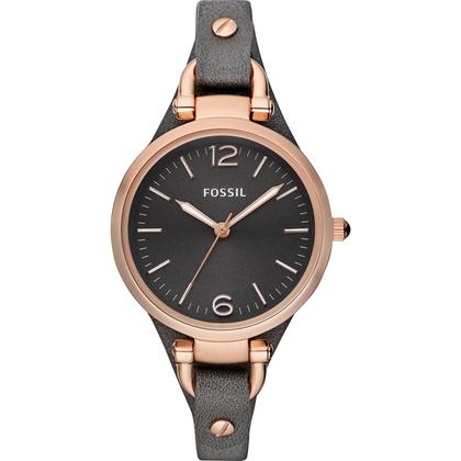 Fossil ES3077 Horlogeband Zwart Leer
