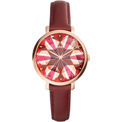 Fossil ES3904 Horlogeband Rood Leer