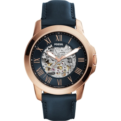 Fossil ME3102 Horlogeband Blauw Leer