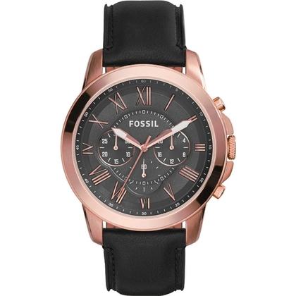 Fossil FS5085 Horlogeband Zwart Leer