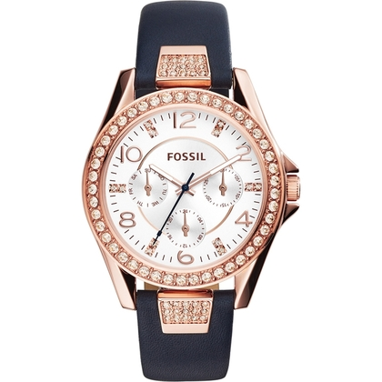 Fossil ES3887 Horlogeband Blauw Leer