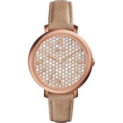Fossil ES3866 Horlogeband Beige Leer