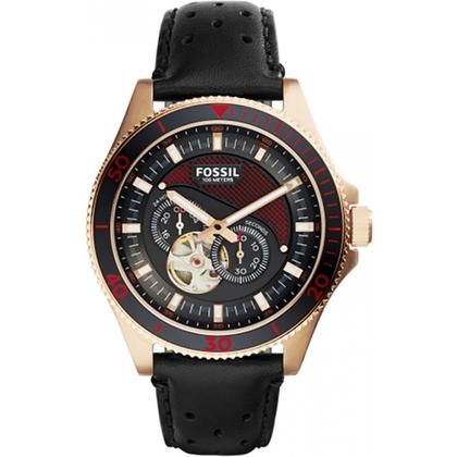 Fossil ME3091 Horlogeband Zwart Leer