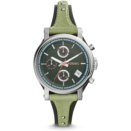 Fossil ES3905 Horlogeband Groen Leer
