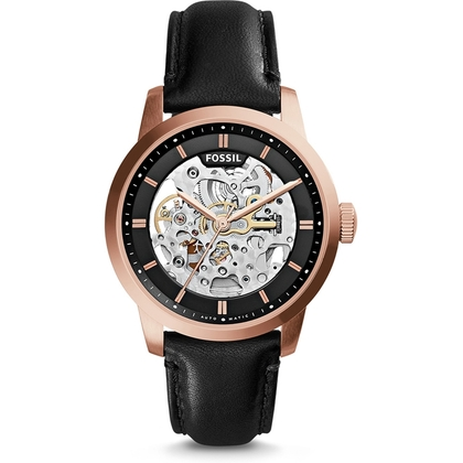 Fossil ME3084 Horlogeband Zwart Leer