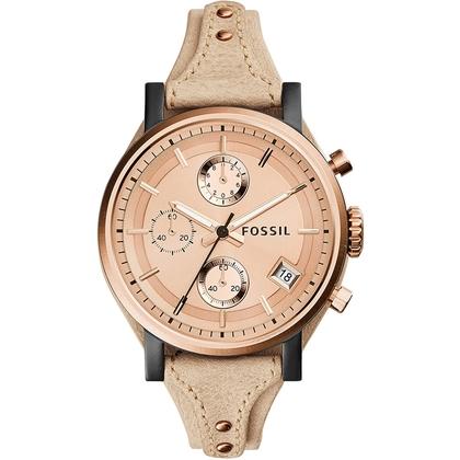 Fossil ES3786 Horlogeband Beige Leer