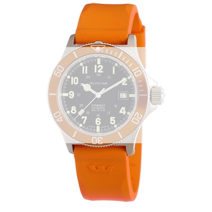 Glycine Combat Sub 3863 Horlogeband Oranje Rubber - 22mm